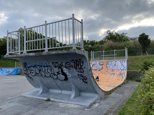 白川街区公園(沖縄市)はスケボーやバスケが出来てザリガニもいる珍しい公園です